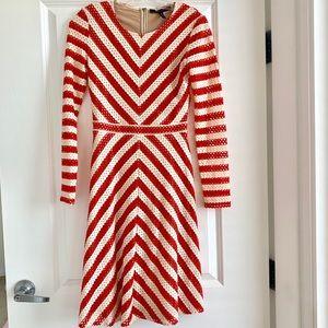 BcbgMaxazria chevron red and white dress